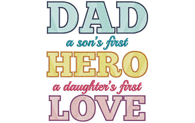 Embroidery Design: Dad Sons and Daughters 7.56w X 8.96h