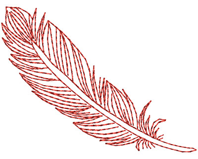 Embroidery Design: Fancy Feather B Small 2.67w X 1.98h