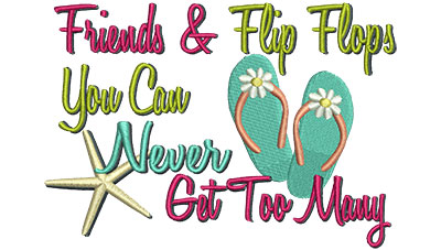 Embroidery Design: Friends & Flip Flops  6.32w X 4.49h
