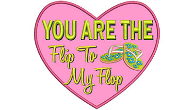 Embroidery Design: Flip To My Flop 5.16w X 4.51h