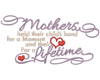 Embroidery Design: Mothers Hold Their Child's Hang Sm 3.91w X 1.97h