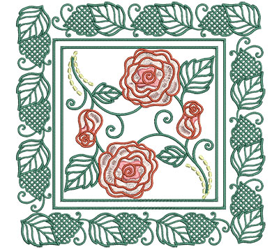Embroidery Design: Roses In Picture Frame Lg 7.01w X 7.01h