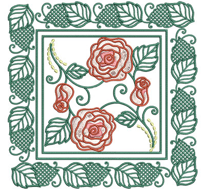 Embroidery Design: Roses In Picture Frame Sm 6.01w X 6.01h
