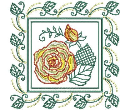 Embroidery Design: Rose In Leaf Frame Lg 7.01w X 7.01h
