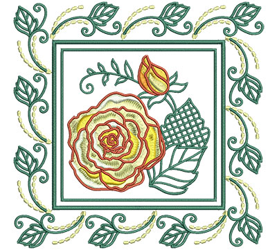 Embroidery Design: Rose In Leaf Frame Sm 6.01w X 6.01h