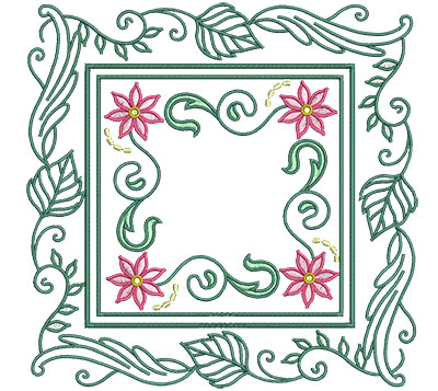 Embroidery Design: Flowers In Leaf Frame Lg 7.01w X 7.01h