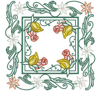 Embroidery Design: Rose Buds In Floral Frame Lg 7.01w X 7.01h