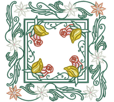 Embroidery Design: Rose Buds In Floral Frame Sm 6.01w X 6.01h
