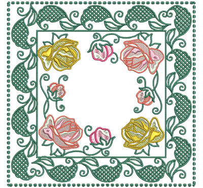 Embroidery Design: Rose Buds In Leaf Frame Lg 7.01w X 7.01h