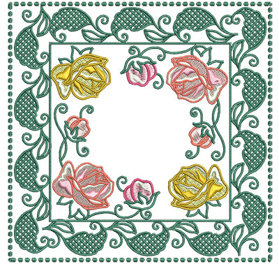 Embroidery Design: Rose Buds In Leaf Frame Sm 6.01w X 6.01h
