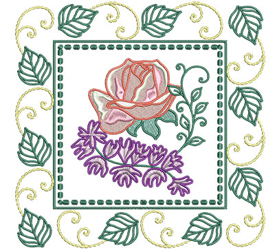Embroidery Design: Rose And Campanula In Leaf Frame Lg 7.01w X 7.01h