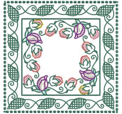 Embroidery Design: Flower Buds In Leaf Frame Lg 7.01w X 7.01h