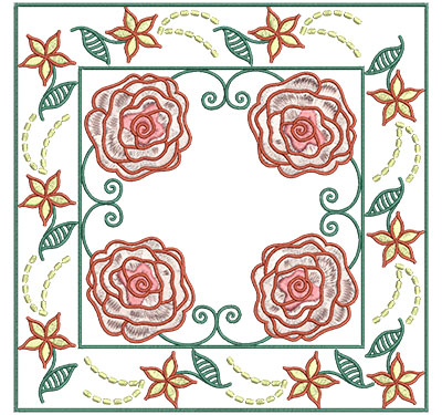 Embroidery Design: Roses In Floral Frame Lg 7.01w X 7.01h