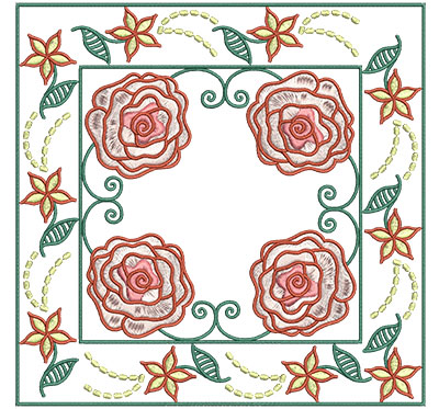 Embroidery Design: Roses In Floral Frame Sm 6.01w X 6.01h