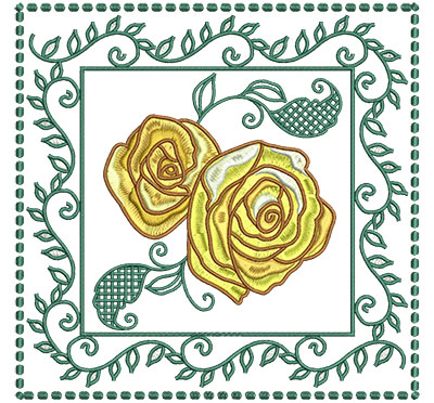 Embroidery Design: Roses In Leaf Frame Lg 7.01w X 7.01h