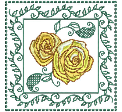 Embroidery Design: Roses In Leaf Frame Sm 6.01w X 6.01h