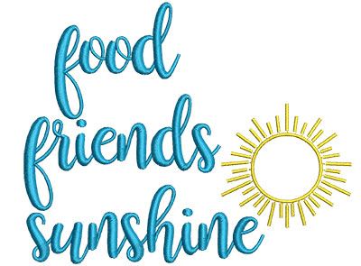 Embroidery Design: Food Friends Sunshine 5.56w X 4.52h