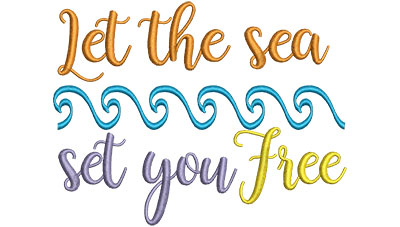 Embroidery Design: Let The Sea Set You Free 4.53w X 5.86h