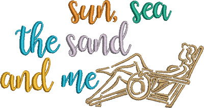 Embroidery Design: Sun Sea The Sand And Me 6.54w X 3.50h