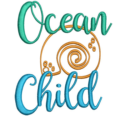 Embroidery Design: Ocean Child 3.77w X 4.52h