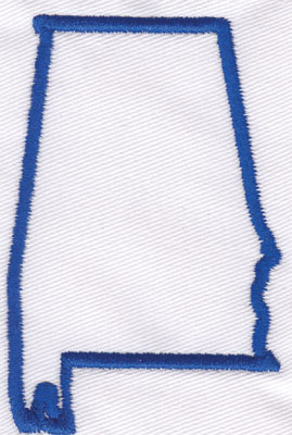 "Embroidery Design: Alabama Outline3.35"" x 2.19"""