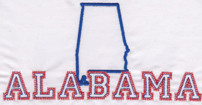 "Embroidery Design: Alabama Outline and Name3.93"" x 7.98"""