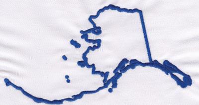 "Embroidery Design: Alaska Outline3.67"" x 6.84"""