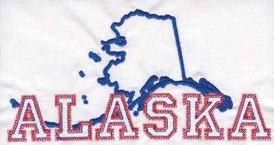 "Embroidery Design: Alaska Outline and Name4.00"" x 8.02"""