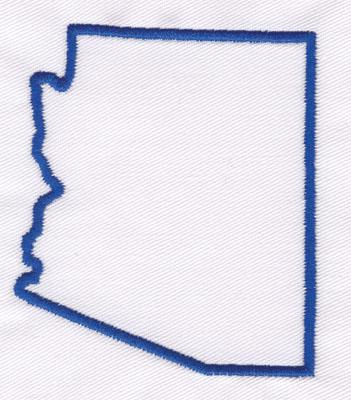 "Embroidery Design: Arizona Outline3.28"" x 2.85"""