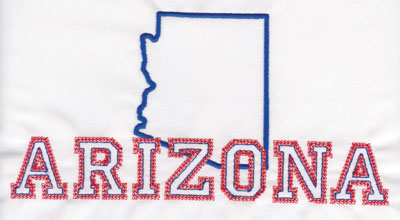 "Embroidery Design: Arizona Outline and Name3.97"" x 7.90"""