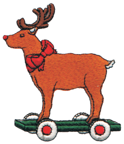 "Embroidery Design: Reindeer on Wheels2.72"" x 3.16"""
