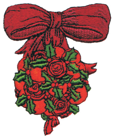 "Embroidery Design: Orange & Rose Mistletoe2.38"" x 2.91"""