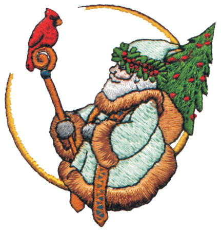 """Embroidery Design: Old Saint Nick On a Crescent Moon2.81"""" x 2.93"""""""