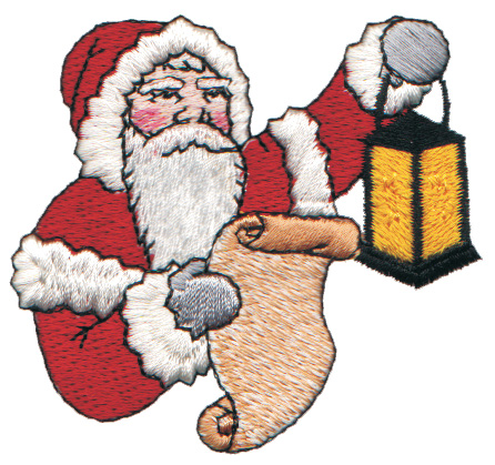 "Embroidery Design: Santa Checking his List Twice2.88"" x 2.65"""