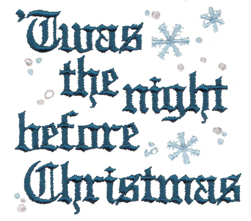 """Embroidery Design: 'Twas the night before Christmas lettering3.15"""" x 2.87"""""""