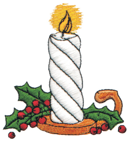 "Embroidery Design: Lighted Candle2.88"" x 3.09"""