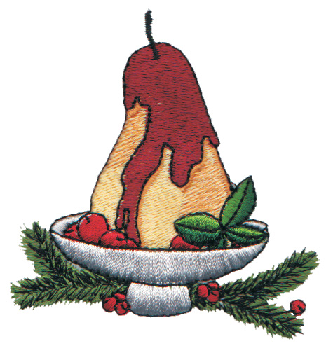 "Embroidery Design: Baked Holiday Pear Dessert3.01"" x 3.16"""