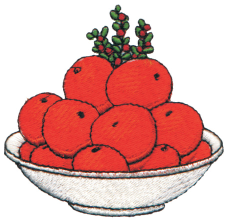 """Embroidery Design: Bowl of Oranges2.93"""" x 2.84"""""""