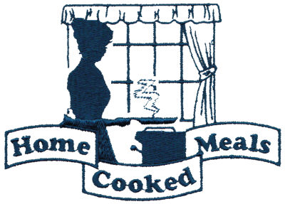 "Embroidery Design: Home Cooked Meals4.97"" x 3.55"""