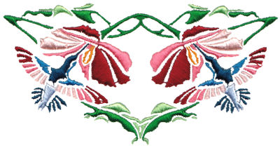 "Embroidery Design: Hummingbirds & Flowers5.16"" x 2.69"""