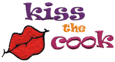 "Embroidery Design: Kiss the Cook5.01"" x 2.64"""