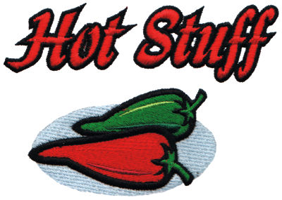 "Embroidery Design: Hot Stuff4.96"" x 3.49"""