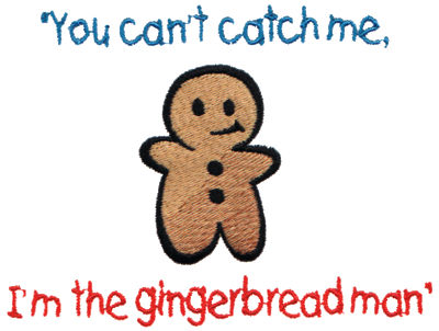 "Embroidery Design: I'm the Gingerbread Man4.75"" x 3.58"""