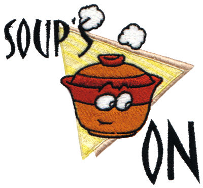 "Embroidery Design: Soup's On4.27"" x 3.89"""