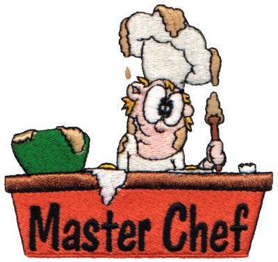 """Embroidery Design: Master Chef3.57"""" x 3.37"""""""