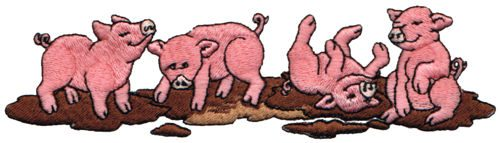 "Embroidery Design: Pigs in Mud6.36"" x 1.70"""