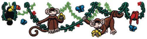 "Embroidery Design: Swinging Monkeys6.15"" x 1.54"""