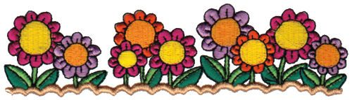 "Embroidery Design: Garden Blooms6.08"" x 1.63"""