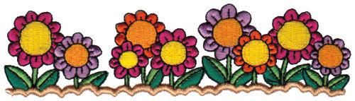"Embroidery Design: Garden Blooms6.08"" x 1.63"""