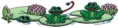 "Embroidery Design: Frogs On Lilypads6.73"" x 1.49"""